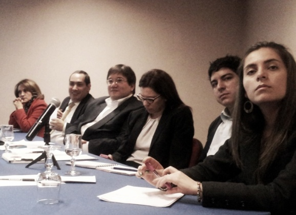 Izquierda-derecha: Jineth Bedoya, César Caballero, Jaime Abello, Karina Banfi, Juan Pablo Barrientos y Angélica Mariño