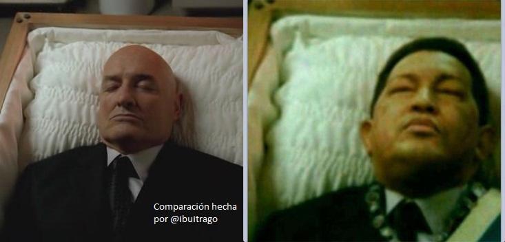 Comparación de las imágenes de Chávez y el personaje John Locke de la serie Lost