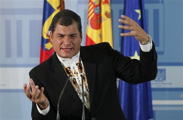Ecuador's President Rafael Correa gestures during a press conference after a meeting with Spain's Prime Minister Mariano Rajoy at the Moncloa Palace, in Madrid, Spain, Saturday, March. 17, 2012. (AP Photo/Andres Kudacki)