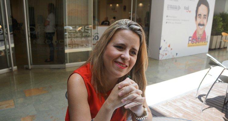 Laura Weffer en el Festival del Premio Gabriel García Márquez de Periodismo realizado en Medellín | Foto: @FNPI_org