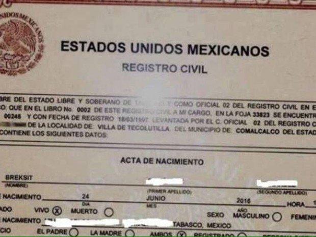 ¿Es cierto que registraron a niña mexicana con el nombre de Breksit?... ¡Responde el quiz semanal!