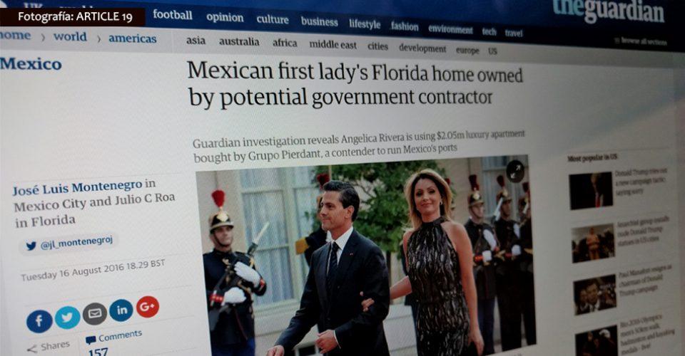 Una de las noticias publicadas por The Guardian / Fotografía: @mrterremoto